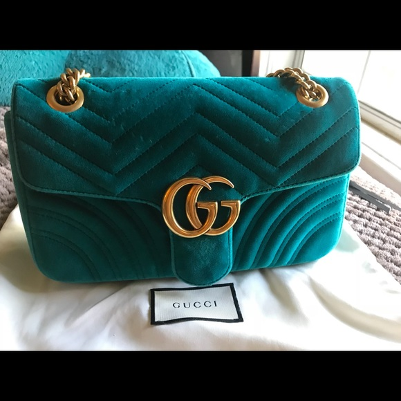 d3f9340e6c1 Gucci Handbags - Small gucci marmont velvet bag in petrol blue.